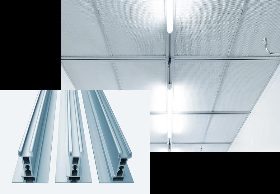 Reinraumdeckenprofil System1 / Reinraumdeckensystem für Elektronik oder Maschinenbau