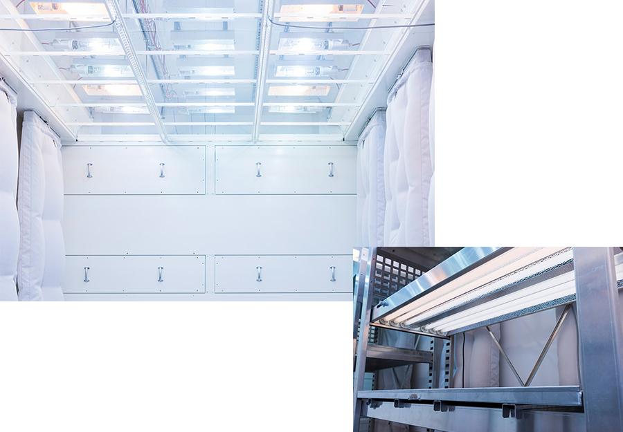 Klimakammer innen / Lichtregal für Phytokammer